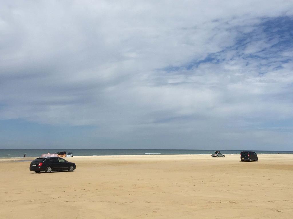 Ideaal met tieners met een luie bui, in Denemarken parkeer je de auto op het strand.