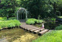 Van balk naar balk over het water in de watertuin