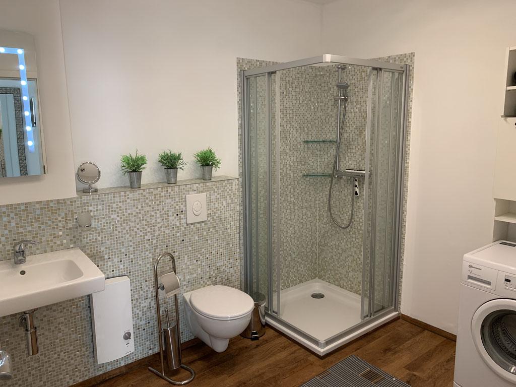 De badkamer, met wasmachine.