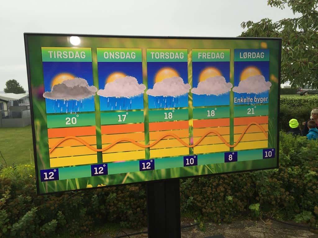 Van deze voorspelling met regen kwam helemaal niets uit. Het was alle dagen droog.