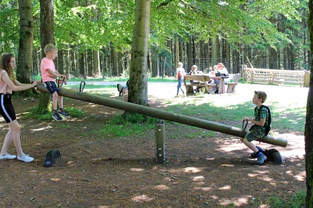 Even de energie kwijt in de speeltuinen: de kinderen vinden het heerlijk in wildpark Wildenberg.