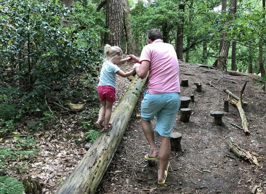 De eerste hindernis over boomstammen en -stronkjes