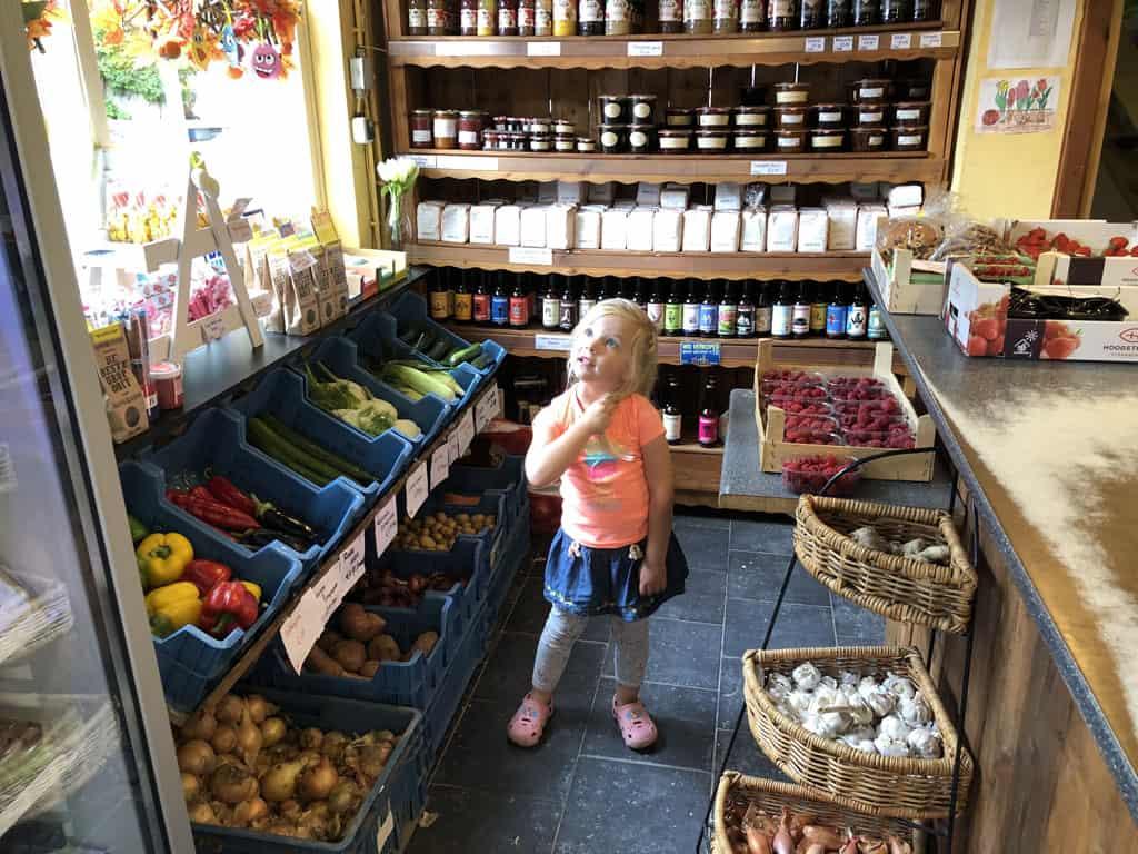 Allemaal lekkers in de boerderijwinkel. Wat zal ik eens kiezen?