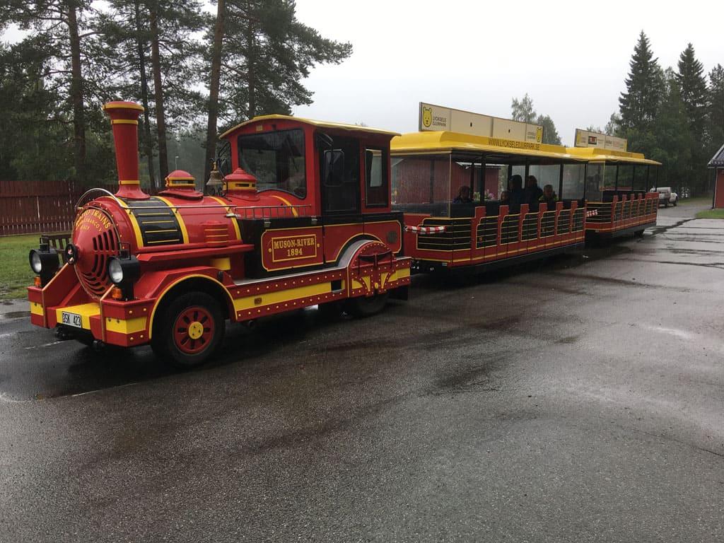 Je kunt met een treintje het hele park door. De uitleg die de machinist onderweg geeft, is alleen in het Zweeds, dus al begrijpen we niet alles, er valt genoeg te kijken onderweg.