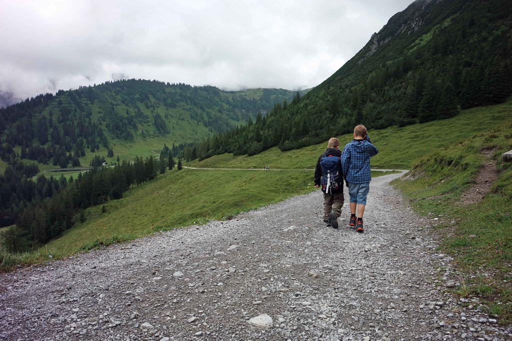 De wandeling gaat langs de alpenwei met koeien MET bellen brandnertal-wandelen-met-kinderen