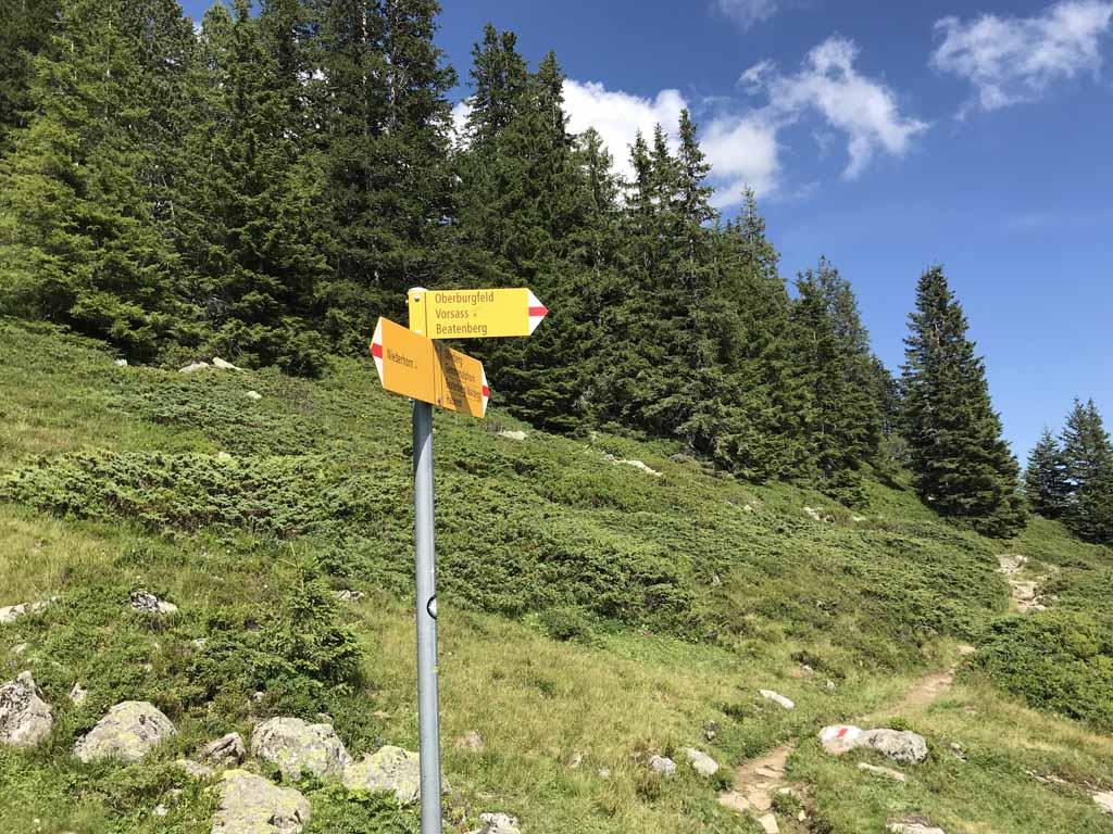 Na een tijdje komen we bij een tweede splitsing, hier gaan we rechtsaf richting Oberbergfeld.