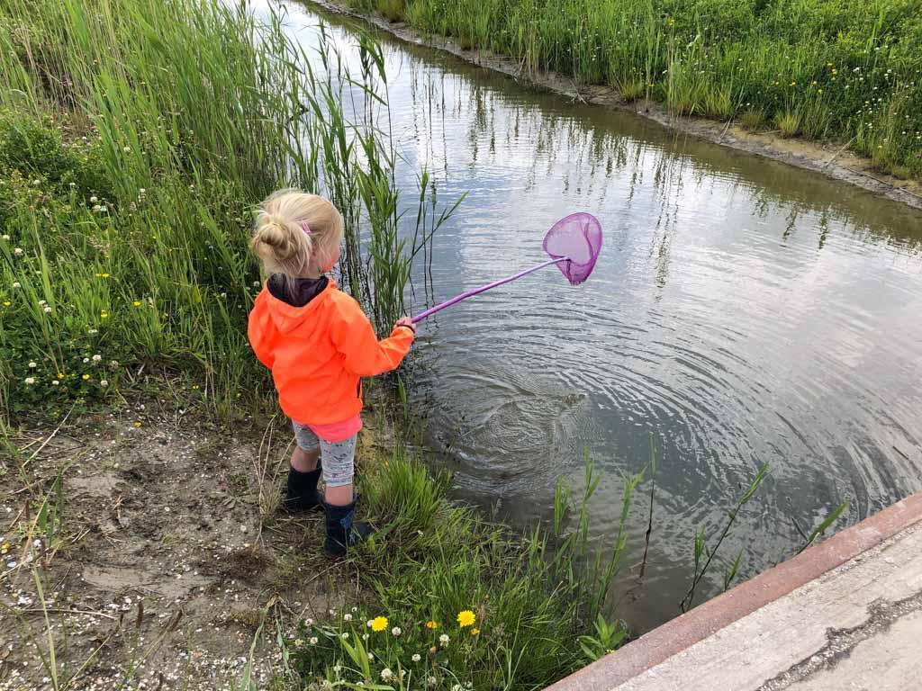 Even kijken of er nog wat visjes in het water zitten. Helaas geen vangst.