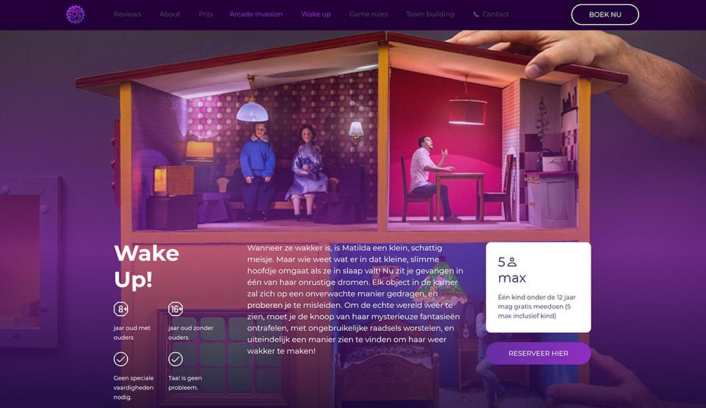 Op de website ziet de escaperoom van Questomatica er al spannend uit