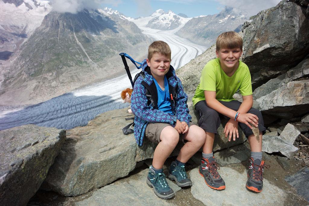 Natuurlijk even een 'verplichte' Aletsch Arena foto met de gletsjer op de achtergrond vakantie-in-de-aletsch-arena