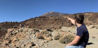 En daar zien we het puntje van vulkaan El Teide.