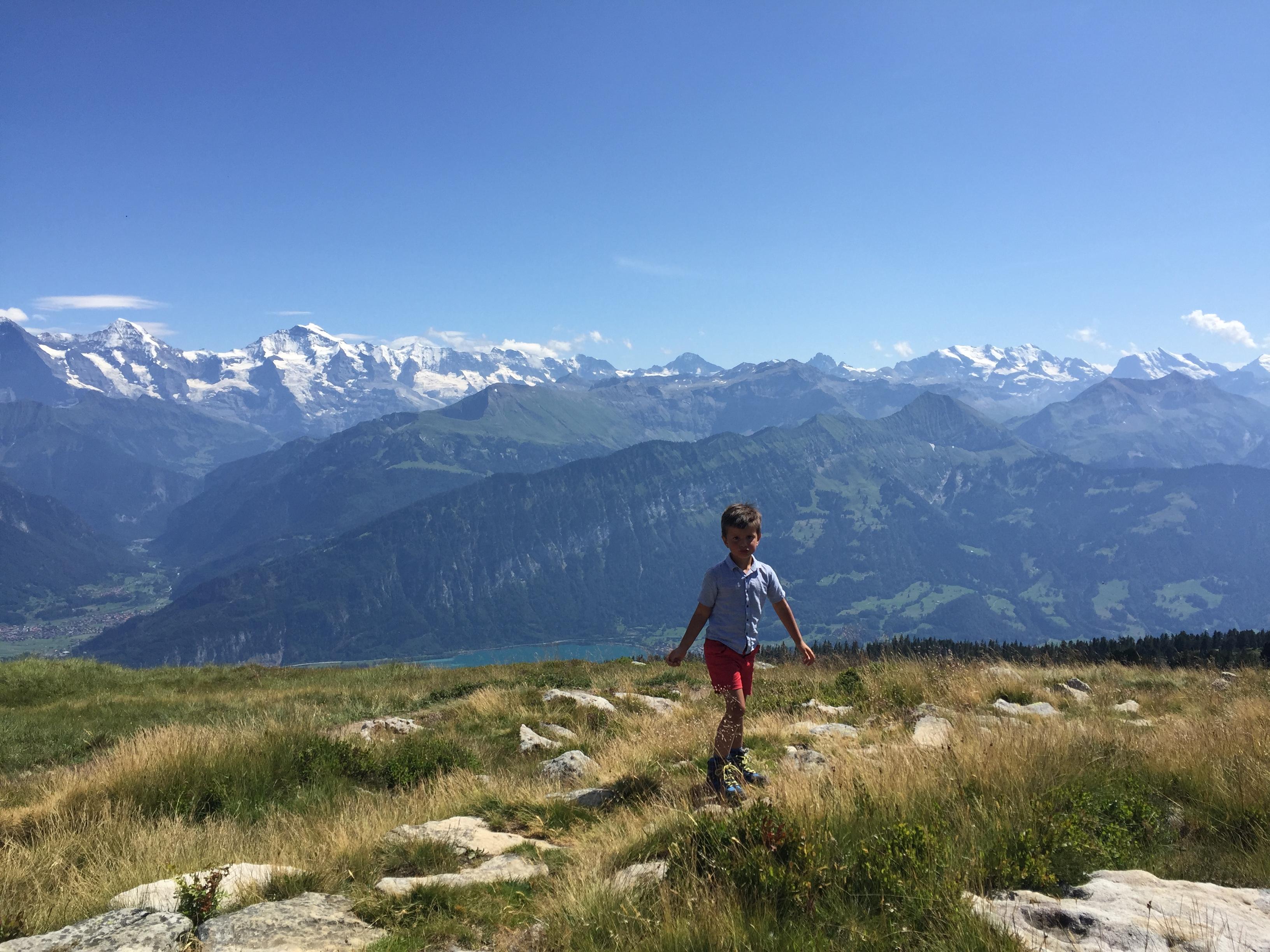 Vanaf de top van de Niederhorn heb je werkelijk prachtig uitzicht.