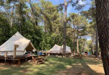 Het rijtje met de Bell-tenten op Camp Dvor.