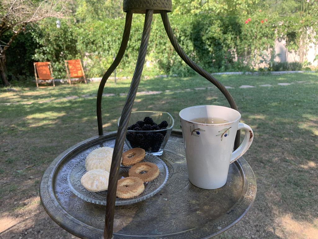 Boekje lezen. Mét thee en lekkers.