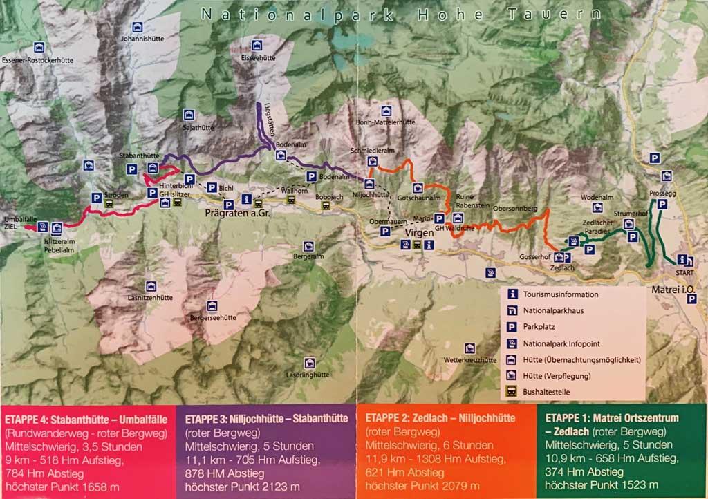 huttentocht in Tirol kaart