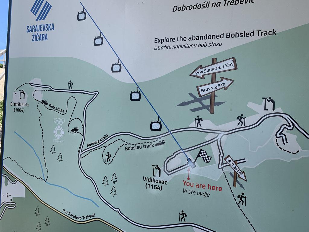 Bij het bovenstation van de kabelbaan hangt dit plattegrond, daarmee vinden we de bobsleebaan makkelijk.