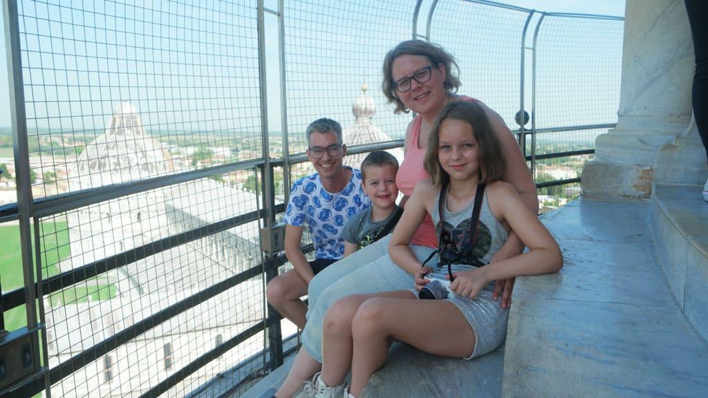 Op de toren van Pisa, vet cool!
