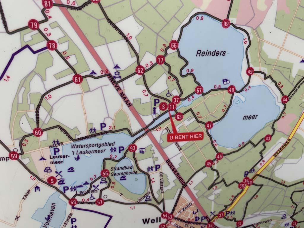 Op een bord bij het bezoekerscentrum zien we een kaart met verschillende wandelroutes in Nationaal Park Maasduinen.
