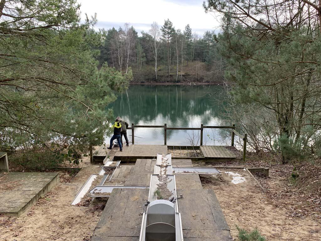 De waterspeelplek net voorbij het bezoekerscentrum.