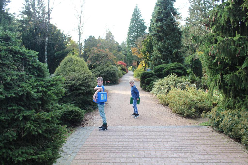 Met een doeblad en ontdekkoffer vol attributen gaan de kinderen (8 en 6 jaar) speuren door het Bomenmuseum in Doorn.