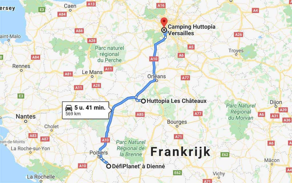 Route rondreis Frankrijk.