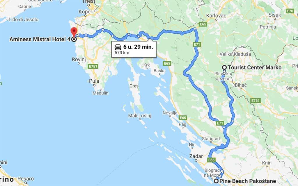Route rondreis Kroatië.