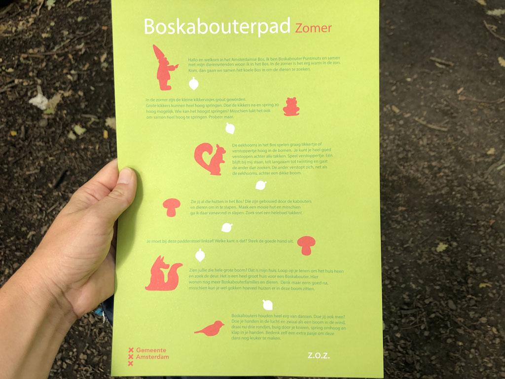 De opdrachtenkaart van het Boskabouterpad