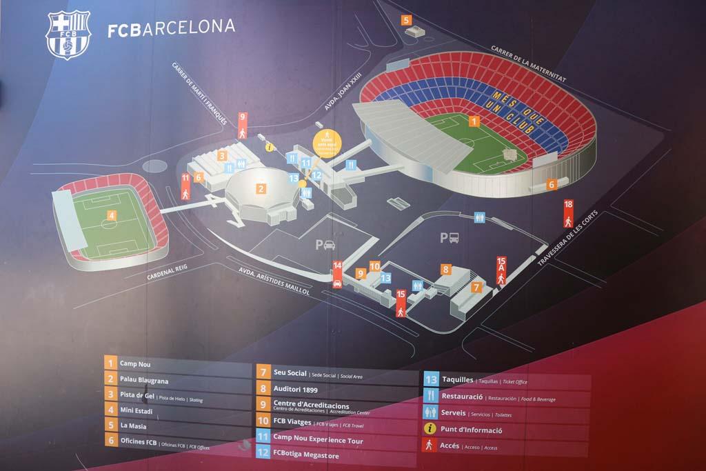 Deze foto geeft een beeld van het totale sportcomplex bij Camp Nou.
