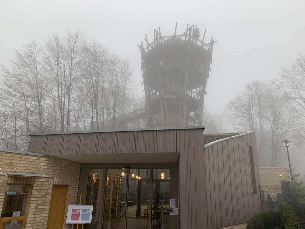 In de mist zien we boomkroonpad Bad Iburg pas liggen als we dichtbij zijn.