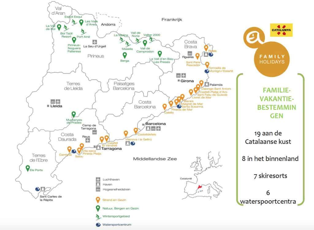 De bestemmingen in Catalonië met 'Family'-label zijn te zien op deze kaart.