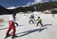 Voor het eerst op de ski's.