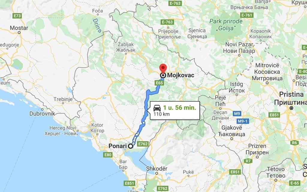 Door naar het binnenland van Montenegro.
