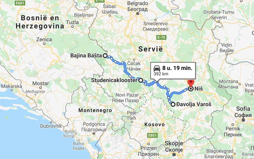 Een lange reisdag naar Nis met onderweg twee tussenstops. Eens kijken of dit haalbaar is op één dag.