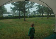 Kamperen met regen.