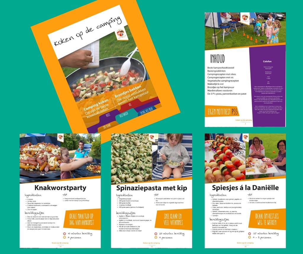 Een impressie van het KidsErOpUit e-book 'Koken op de camping'.