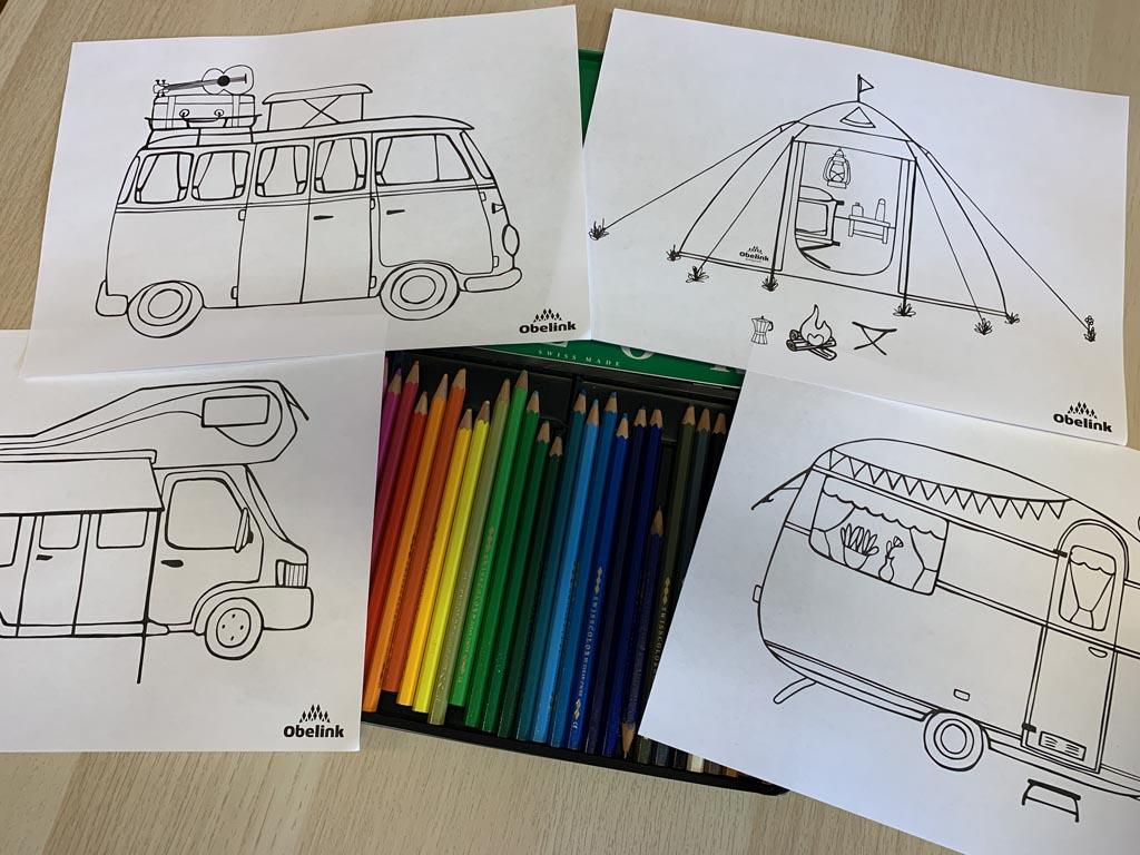 Kleurplaten voor kampeerders.