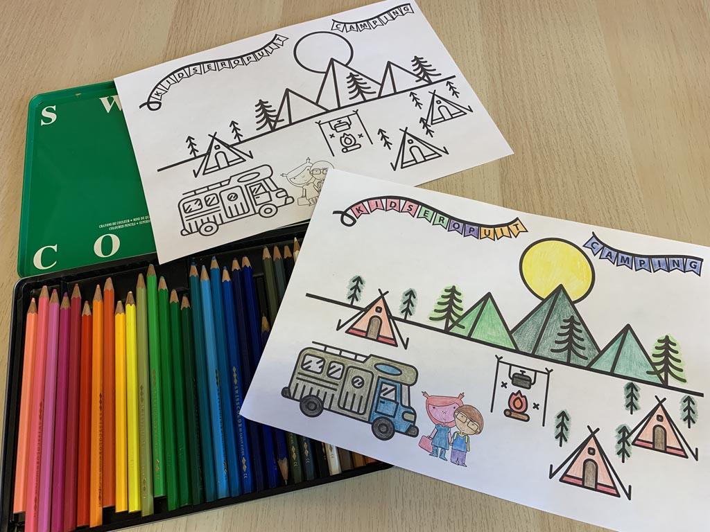 Onze eigen vakantie kleurplaat: de KidsErOpUit Camping.