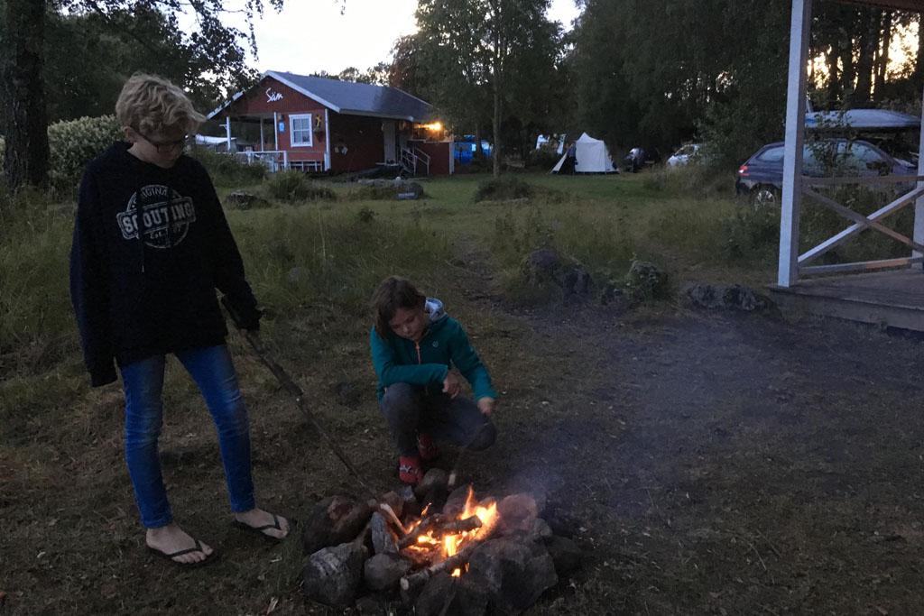 Kampvuur in Zweden