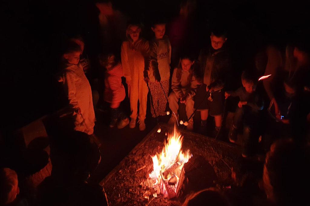 Kinderen bij het kampvuur