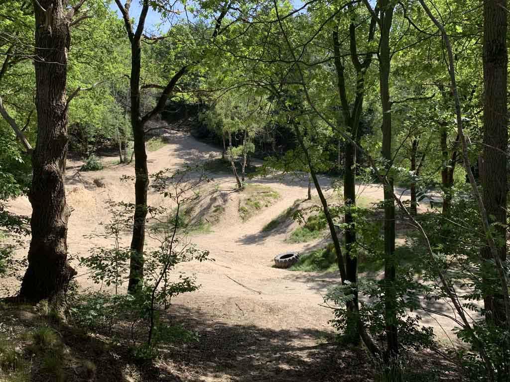 We passeren in het bos onder andere dit gedeelte met zand. Een leuke plek om te picknicken en te spelen.