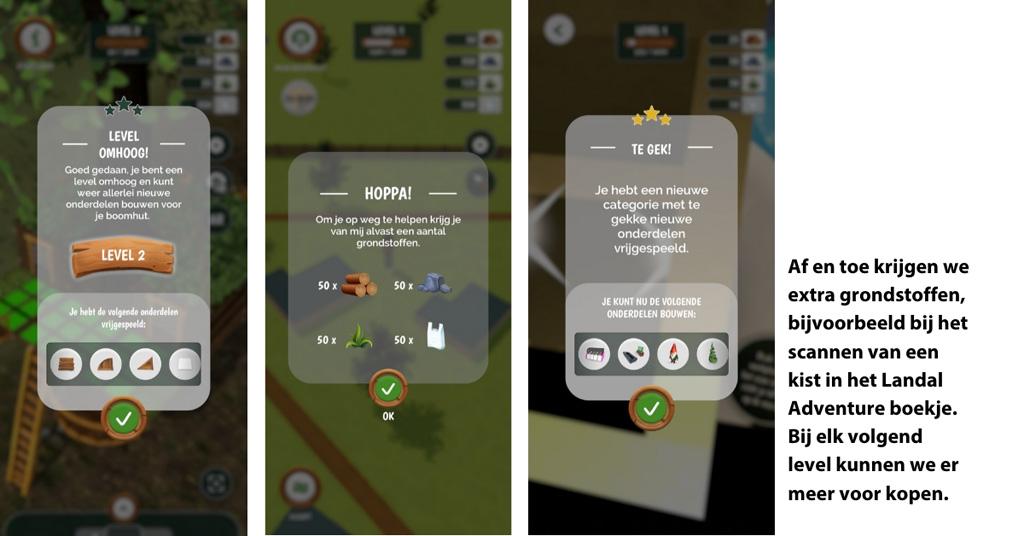 Ook via het Landal Adventure boekje en onverwachts in de app krijgen we extra grondstoffen.