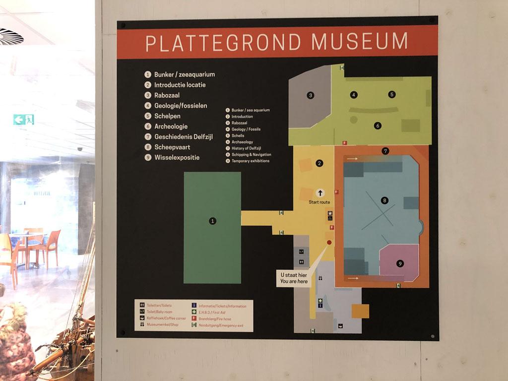 De plattegrond van het MuzeeAquarium