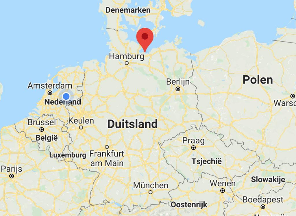 Voor een Duitse strandvakantie ga je naar Travemünde, Boltenhagen (zie pinnetje op de kaart) of Rügen.