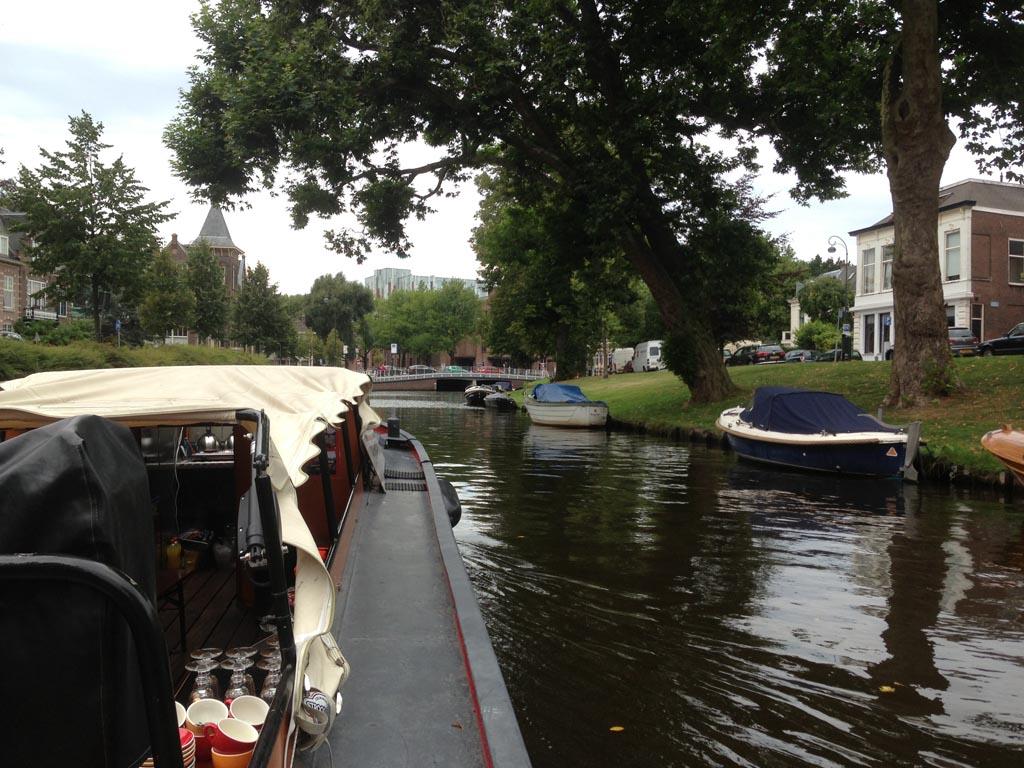 Vanaf het water zie je goed dat Haarlem een groene stad is.