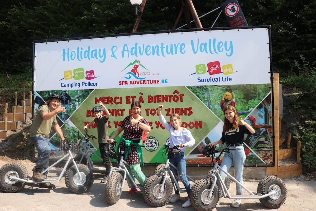 Yes! We zijn allemaal zonder te vallen weer bij Spa Adventure aangekomen.