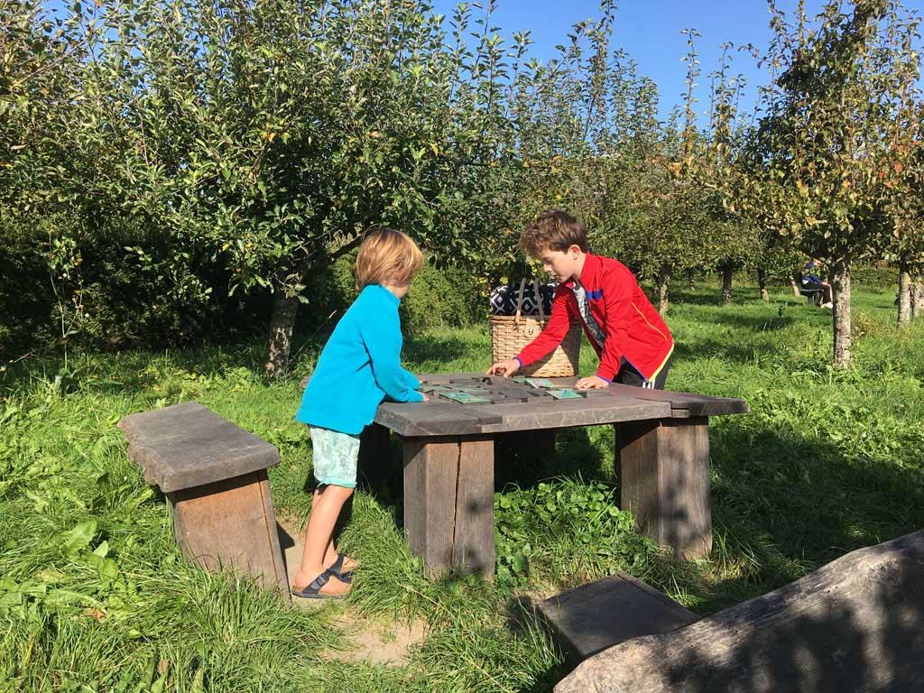 Midden in de boomgaard staat een speeltafel. Die moeten we even aan een onderzoek onderwerpen natuurlijk.