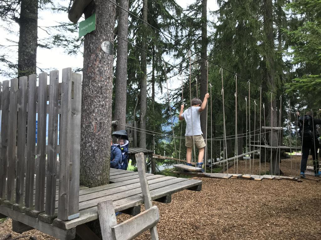 Timoks Wilde Wereld heeft ook een gaaf laagtouwenparcours in het bos.