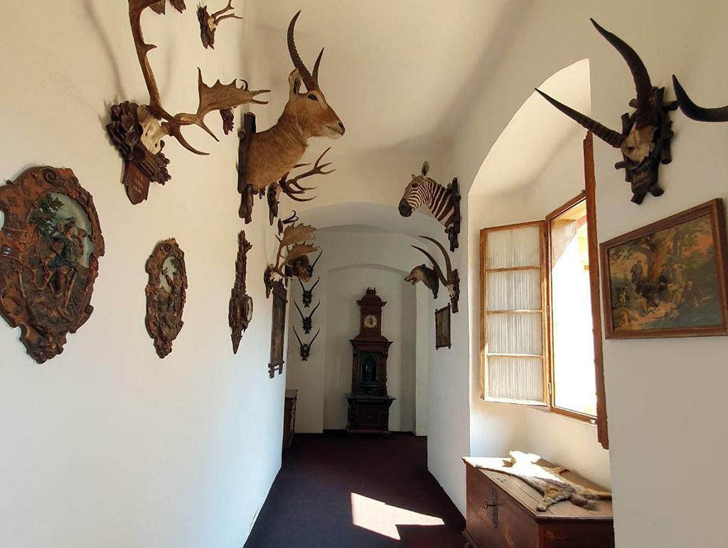 We bekijken de woonverdieping, met gangen vol oude jachtobjecten en dieren